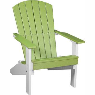 LuxCraft Poly Lakeside Adirondack Chair Lime Green & White