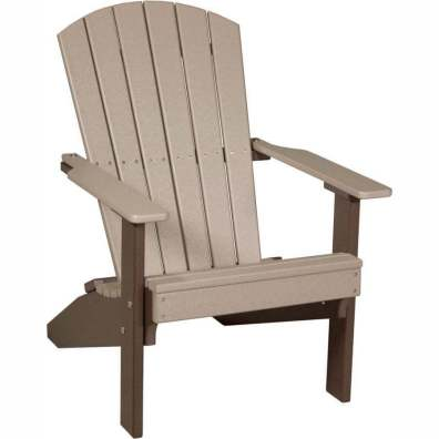 LuxCraft Poly Lakeside Adirondack Chair Weatherwood & Chestnut Brown