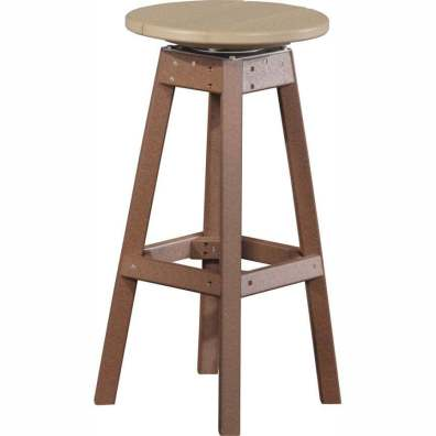 LuxCraft Poly Swivel Bar Stool Weatherwood & Chestnut Brown