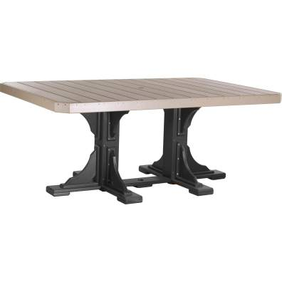 LuxCraft Poly 4x6 Rectangular Table Weatherwood & Black