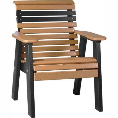 LuxCraft Poly 2' Plain Bench Cedar & Black