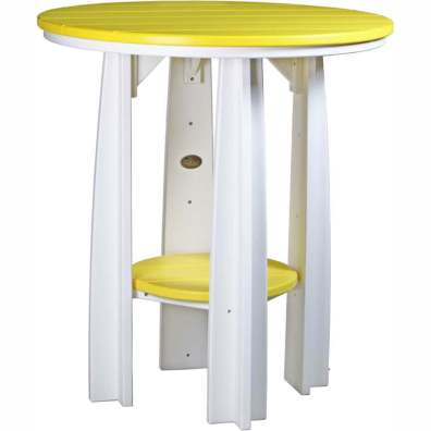 "LuxCraft Poly 36"" Balcony Table Yellow & White"