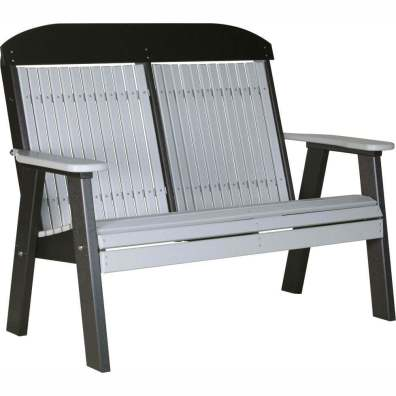 LuxCraft Poly 4' Classic Bench Dove Gray & Black