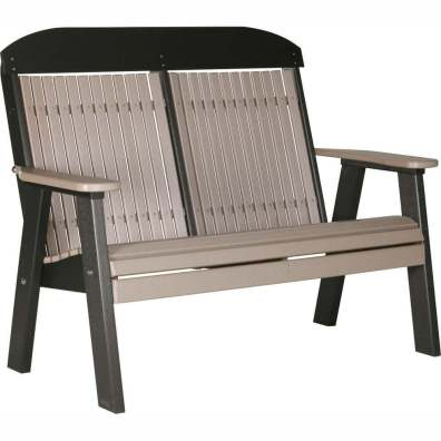 LuxCraft Poly 4' Classic Bench Weatherwood & Black