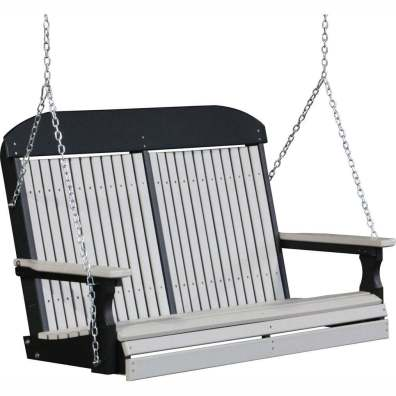 LuxCraft Poly 4' Classic Swing Dove Gray & Black