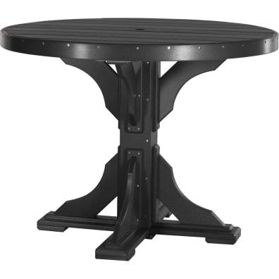 LuxCraft Poly 4' Round Table Counter Height Black