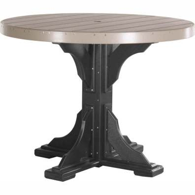 LuxCraft Poly 4' Round Table Counter Height Weatherwood & Black