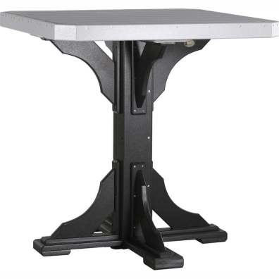 """LuxCraft Poly 41"""" Square Table Bar Height Dove Gray & Black"""