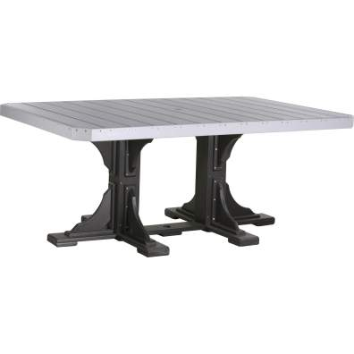 LuxCraft Poly 4x6 Rectangular Table Dove Gray & Black