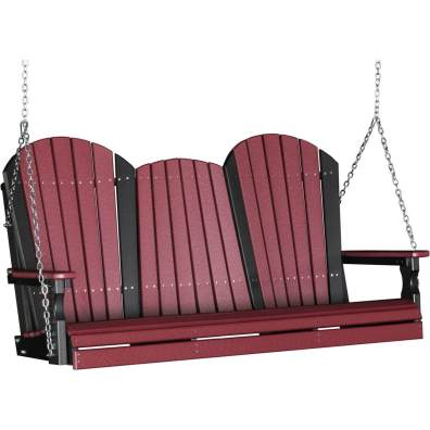 LuxCraft Poly 5' Adirondack Swing Cherrywood & Black