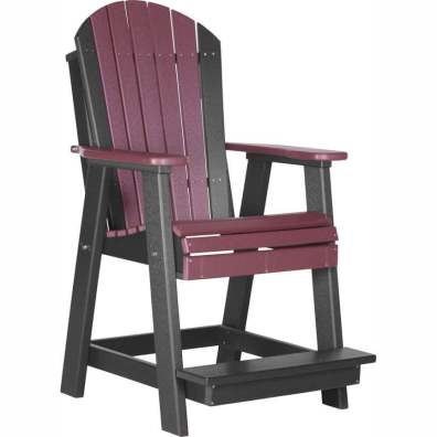 LuxCraft Poly Adirondack Balcony Chair Cherrywood & Black