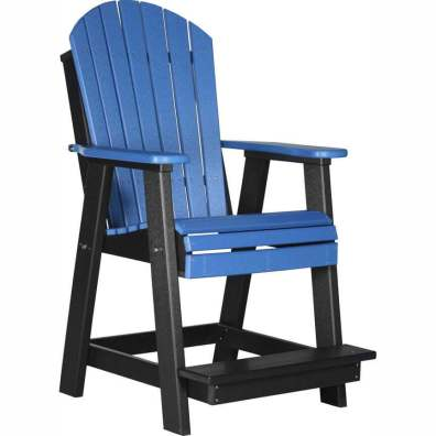 LuxCraft Poly Adirondack Balcony Chair Blue & Black