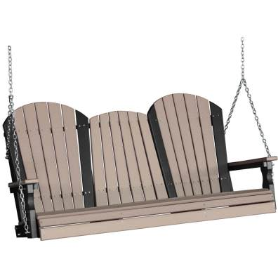 LuxCraft Poly 5' Adirondack Swing Weatherwood & Black