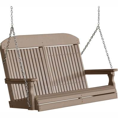 LuxCraft Poly 4' Classic Swing Weatherwood