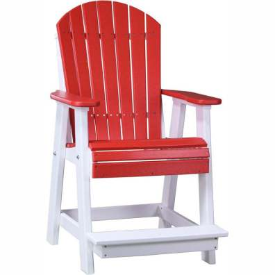 LuxCraft Poly Adirondack Balcony Chair Red & White