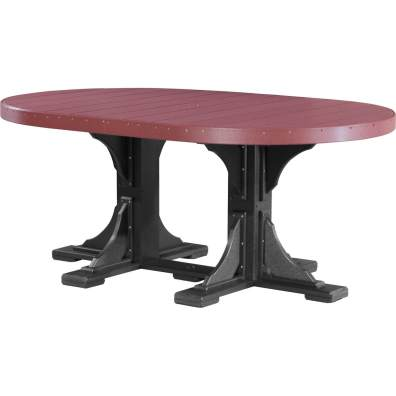 LuxCraft Poly 4x6 Oval Table Cherrywood & Black