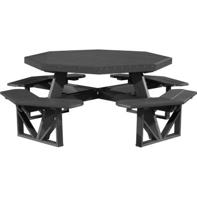 LuxCraft Poly Octagon Picnic Table Black