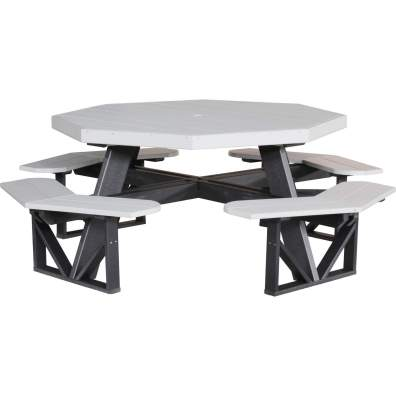LuxCraft Poly Octagon Picnic Table Dove Gray & Black