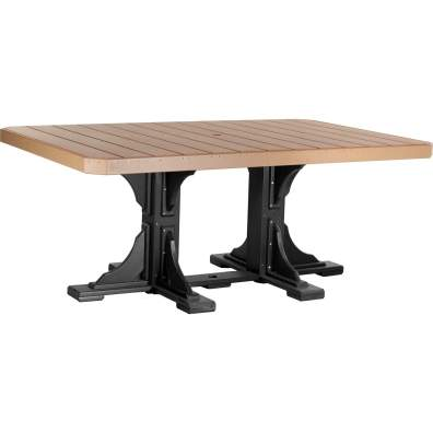 LuxCraft Poly 4x6 Rectangular Table Cedar & Black