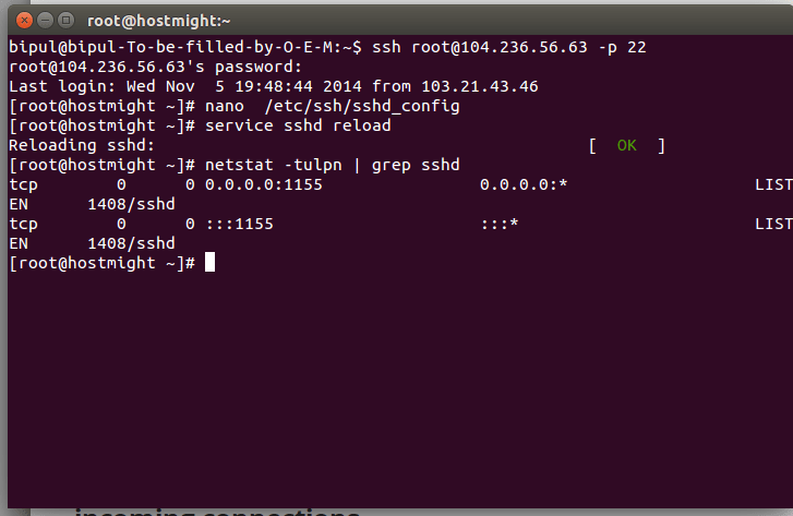 check ssh port