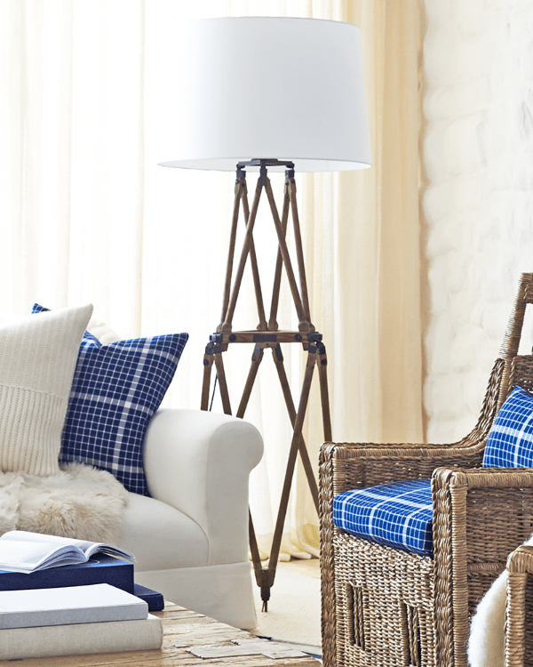 The Design Of The Quincy Floor Lamp Was Inspired By An Antique Wooden  Folding Tripod. The Legs Are Carved From Solid White Oak Accented By  Wrought Iron ...