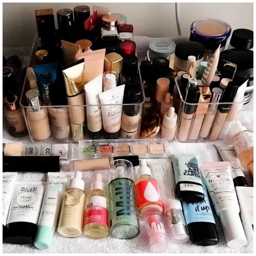 makeup declutter base products foundation, concealer, primer, powder, primer & more