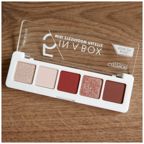 catrice 5 in a box eyeshadow palette review swatch makeup look application 060 vivid burgundy look