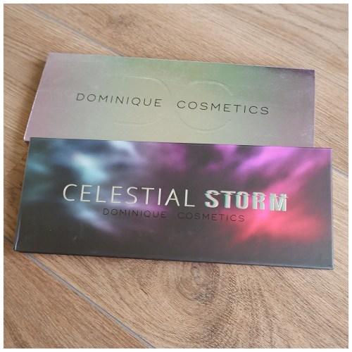 dominique cosmetics celestial storm eyeshadow palette review swatch makeup look application fair skin
