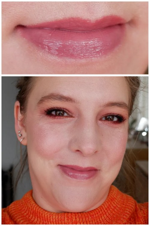 fenty beauty gloss bomb cream lipgloss review lipstick swatch mauve wives mauve wive$ makeup look application