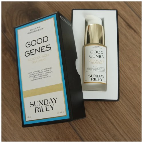 sunday riley good genes skincare review glycolic acid treatment swatch dry skin sensitive skin