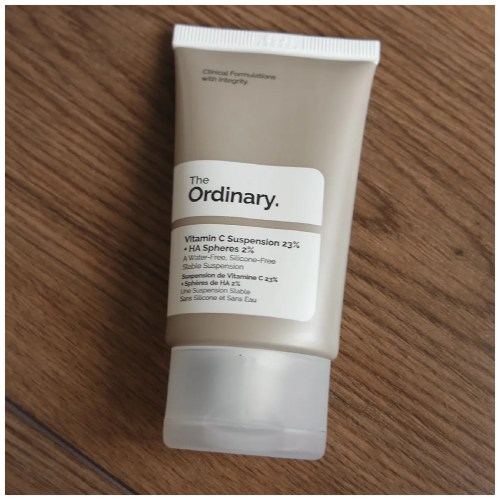 The Ordinary Vitamin C Suspension 23% + HA Spheres 2% skincare review swatch dry skin sensitive skin
