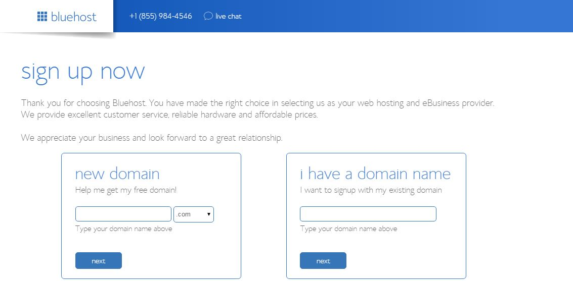 Sign Up Now for Bluehosting Plan