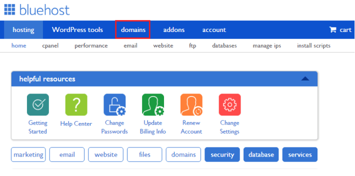 How to renew domain names in Bluehost