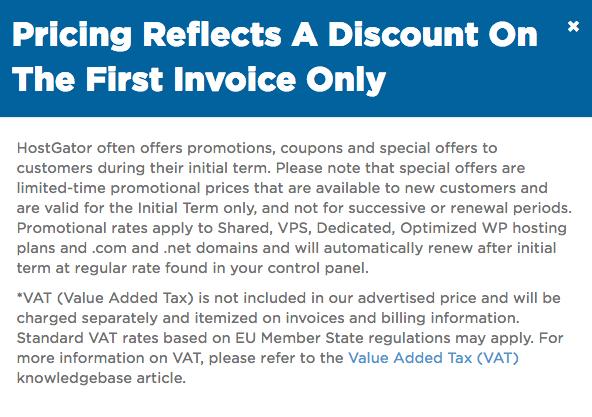 HostGator pricing disclaimer
