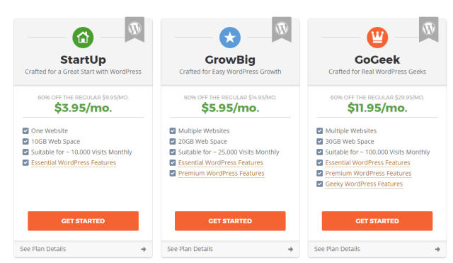 SiteGround plans & pricing