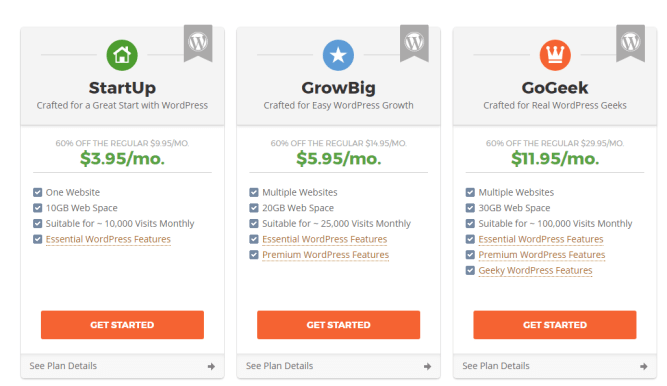 SiteGround plans & pricing