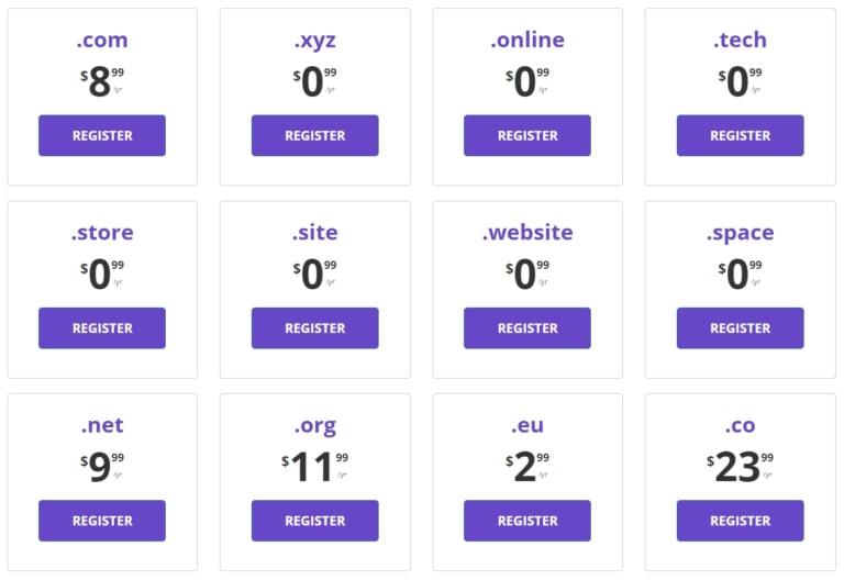 Цены на домены Hostinger