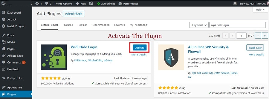 activating the WPS Hide Login Plugin