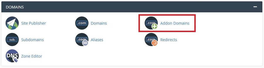 finding addon domain section in hosting cpanel