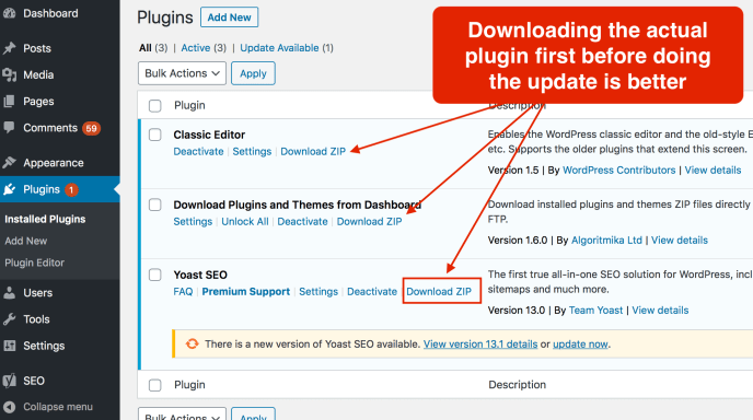 How to download a WordPress plugin from admin area
