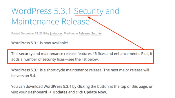 Checking the version of a WordPress security and maintenance release