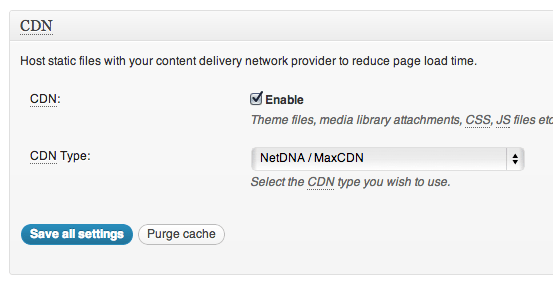 enable cdn w3 total cache