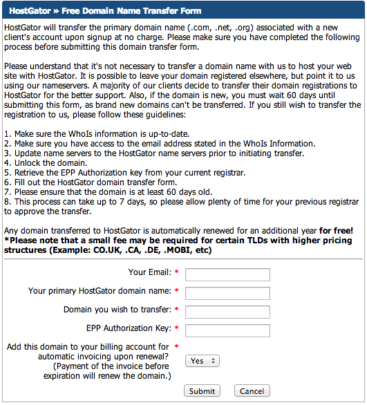 HostGator Free Domain Name Transfer