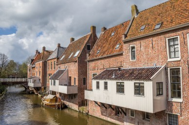 Hanging kitchens in historical city Appingedam, Netherlands
