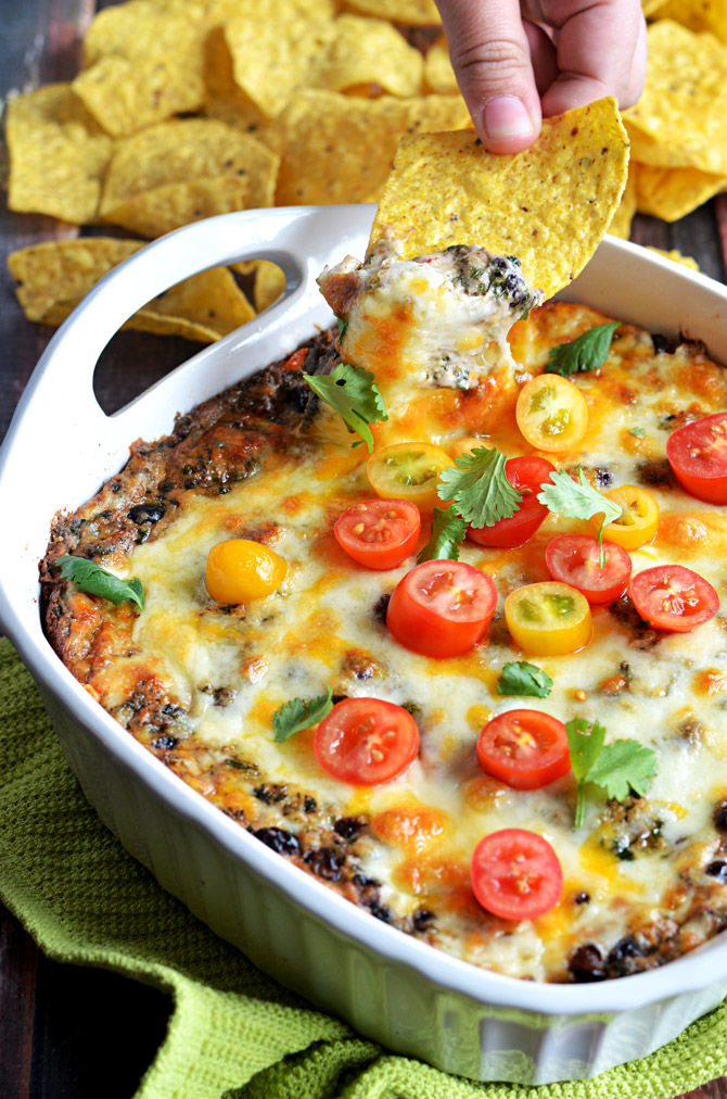 Cheesy Fiesta Black Bean Spinach Dip. This dip is bound to be a new ...