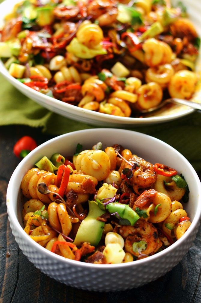 Smoky Shrimp Pasta Salad with Chipotle-Honey Vinaigrette. This is the holy grail of pasta salad, guys. Bring this to a barbecue or picnic and it'll be the star of the show, I guarantee you that. Those avocado ribbons just melt in your mouth.   hostthetoast.com