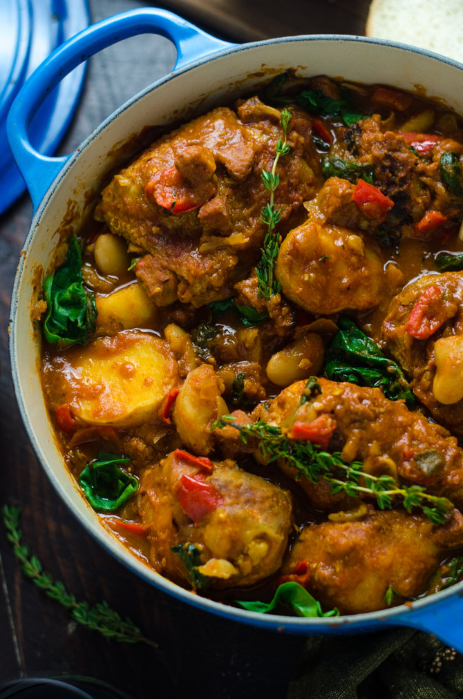 Saucy Spanish Chicken, Chorizo, and Potato Pot. This comforting one-pot dinner is going to wind up being one of your most requested meals. There's so much flavor in every bite. | hostthetoast.com