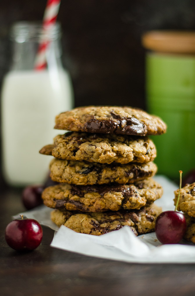Chewy Cherry Chocolate Chunk Oatmeal Cookies. A major upgrade to the oatmeal raisin cookies of your past, these soft and gooey chocolate-loaded cookies will become a fast favorite!   hostthetoast.com