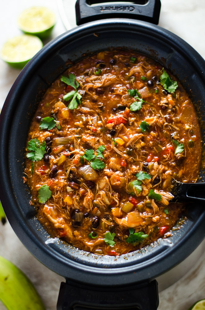 Slow Cooker Jamaican Jerk Chicken Chili with Plantain Chips. This set-it-and-forget-it shredded chicken chili takes island flavor straight to your bowl. | hostthetoast.com