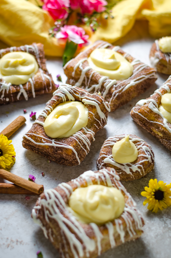 Cinnamon Sugar Cheesecake Custard Pastries. These tasty pastries are the ultimate springtime desserts. And wouldn't they make an adorable sweet brunch treat, too?   hostthetoast.com